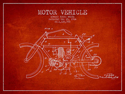 Bicycle Drawing - 1914 Motor Vehicle Patent - Red by Aged Pixel