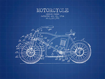 Bicycle Drawing - 1914 Motorcycle Patent - Blueprint by Aged Pixel