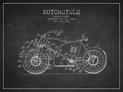 Bicycle Drawing - 1914 Motorcycle Patent - Charcoal by Aged Pixel