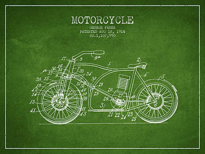 Bicycle Drawing - 1914 Motorcycle Patent - Green by Aged Pixel