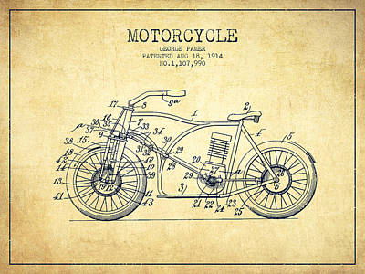 Bicycle Drawing - 1914 Motorcycle Patent - Vintage by Aged Pixel