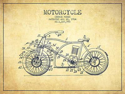 Transportation Digital Art - 1914 Motorcycle Patent - Vintage by Aged Pixel