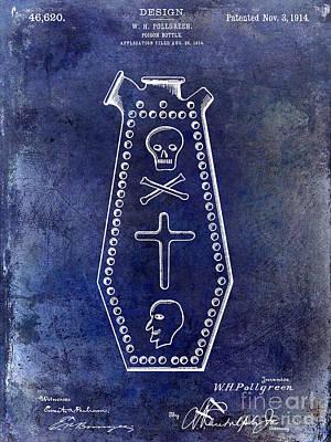 Crossbones Photograph - 1914 Poison Bottle Patent Blue by Jon Neidert