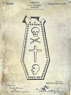 Crossbones Photograph - 1914 Poison Bottle Patent by Jon Neidert