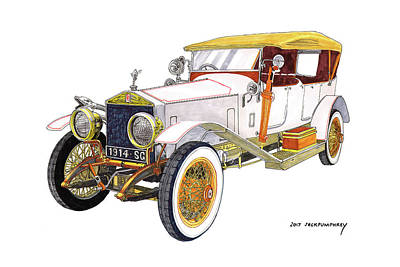 Painting - 1914 Rolls Royce Silver Ghost by Jack Pumphrey