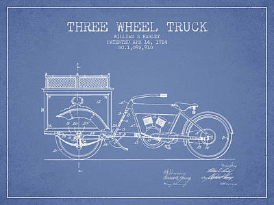 Bicycle Drawing - 1914 Three Wheel Truck Patent - Light Blue by Aged Pixel
