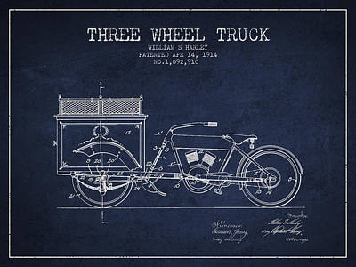 Bicycle Drawing - 1914 Three Wheel Truck Patent - Navy Blue by Aged Pixel