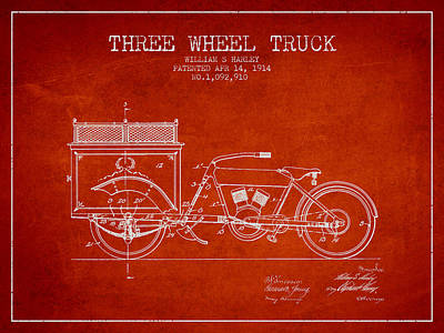 Bicycle Drawing - 1914 Three Wheel Truck Patent - Red by Aged Pixel