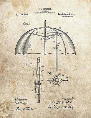 Rain Drawing - 1914 Umbrella Patent by Dan Sproul