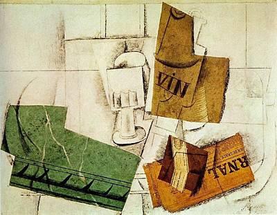 1914 Verre  Bouteille De Vin Art Print