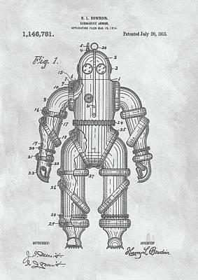 1915 Diving Suit Patent Art Print by Dan Sproul