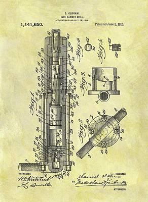 Drawing - 1915 Jack Hammer Patent by Dan Sproul