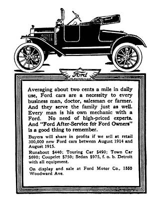Digital Art - 1915 Model T Ford Advertisement Restored by David King
