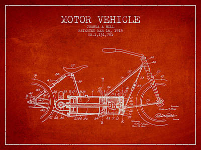 Bicycle Drawing - 1915 Motor Vehicle Patent - Red by Aged Pixel
