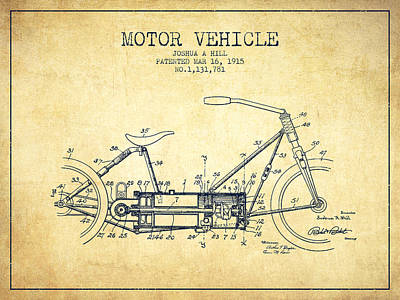 Bicycle Drawing - 1915 Motor Vehicle Patent - Vintage by Aged Pixel