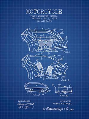 Transportation Digital Art - 1915 Motorcycle Patent 02 -  blueprint by Aged Pixel