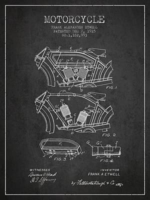 Transportation Digital Art - 1915 Motorcycle Patent 02 - charcoal by Aged Pixel