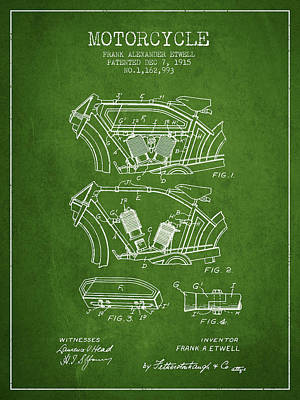 Transportation Digital Art - 1915 Motorcycle Patent 02 -  green by Aged Pixel