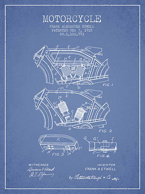 Transportation Digital Art - 1915 Motorcycle Patent 02 -  light blue by Aged Pixel
