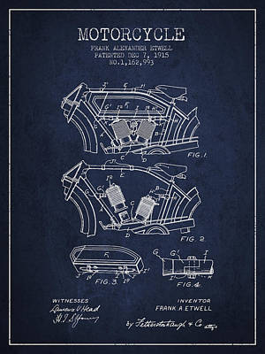 Transportation Digital Art - 1915 Motorcycle Patent 02 -  navy blue by Aged Pixel