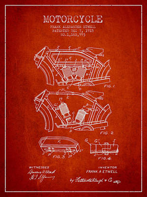 Transportation Digital Art - 1915 Motorcycle Patent 02 -  red by Aged Pixel