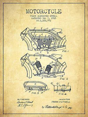Transportation Digital Art - 1915 Motorcycle Patent 02 -  vintage by Aged Pixel