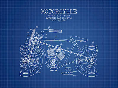 Transportation Digital Art - 1915 Motorcycle Patent -  blueprint by Aged Pixel