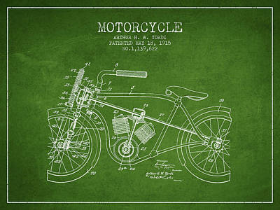 Bicycle Drawing - 1915 Motorcycle Patent - Green by Aged Pixel