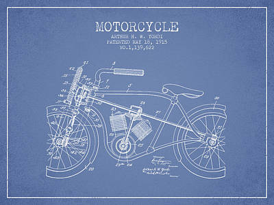 Bicycle Drawing - 1915 Motorcycle Patent - Light Blue by Aged Pixel