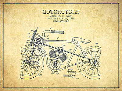 Bicycle Drawing - 1915 Motorcycle Patent - Vintage by Aged Pixel