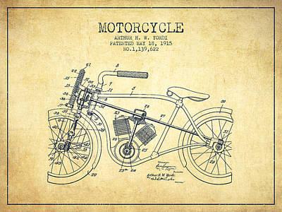 Transportation Digital Art - 1915 Motorcycle Patent - vintage by Aged Pixel