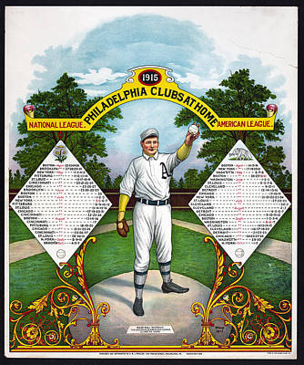 Mixed Media - 1915 National And American League by Charles Shoup