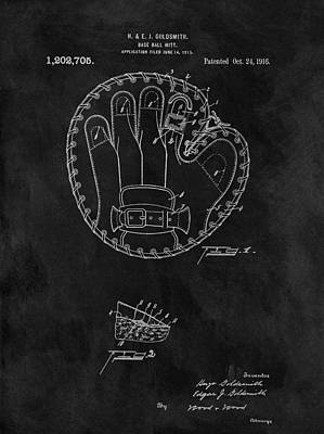 Player Drawing - 1916 Baseball Mitt Patent by Dan Sproul