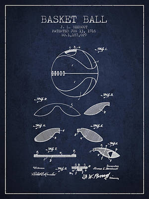 1916 Basket Ball Patent - Navy Blue Art Print by Aged Pixel