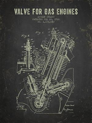 Old Digital Art - 1916 Gas Engine Valve Patent - Dark Grunge by Aged Pixel
