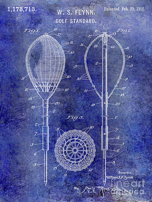 1916 Golf Standard Patent Blue Art Print