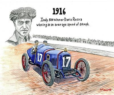 Painting - 1916 Indy 500 Winner by Jeff Blazejovsky
