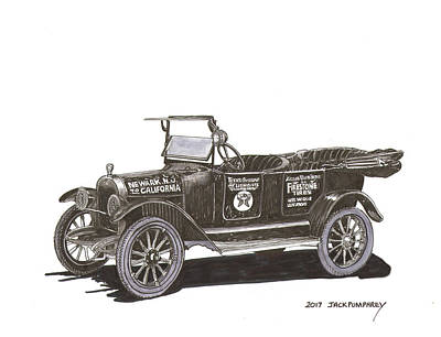 Drawing -  Maxwell Touring Sedan by Jack Pumphrey