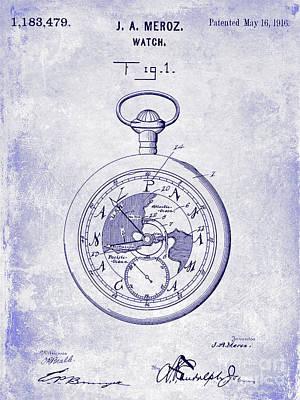 1916 Pocket Watch Patent Blueprint Art Print