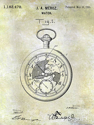 1916 Pocket Watch Patent Art Print