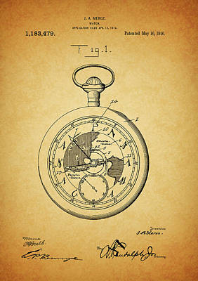 Mixed Media - 1916 Travel Watch Patent by Dan Sproul