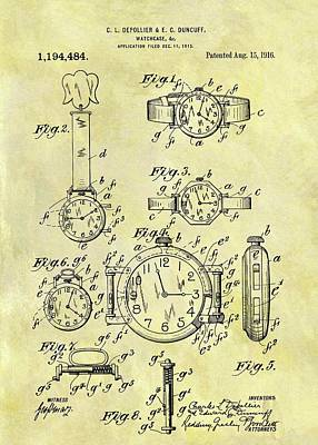 1916 Watch Patent Art Print by Dan Sproul