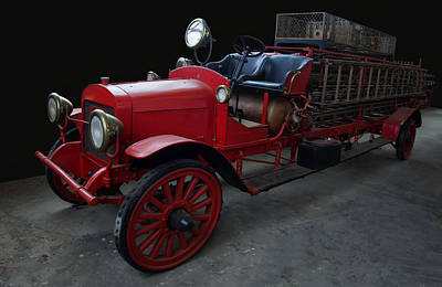 Digital Art - 1917-1921 Brockway Ladder Truck by Chris Flees