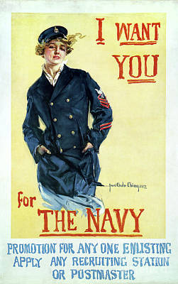 Sailors Girl Photograph - 1917 Navy Recruiting Poster by Jon Neidert