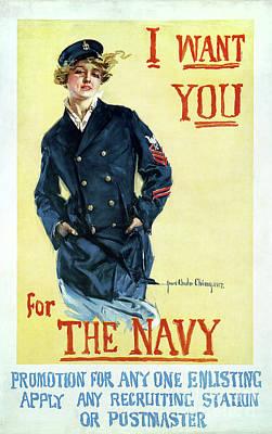 Sailors Girl Photograph - 1917 Navy Recruiting Poster by Jon Neidert