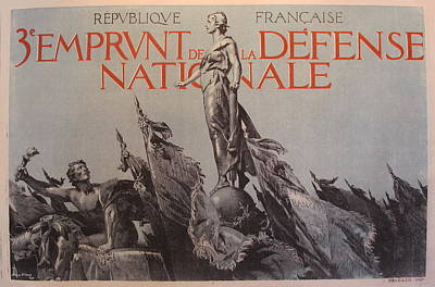 1917 Original French Propaganda Poster, 3e Emprunt De La Defense Nationale By Lelong Original