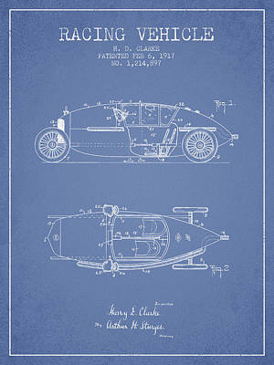 Classic Car Drawings Digital Art - 1917 Racing Vehicle Patent - Light Blue by Aged Pixel