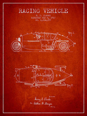 Classic Car Drawings Digital Art - 1917 Racing Vehicle Patent - Red by Aged Pixel