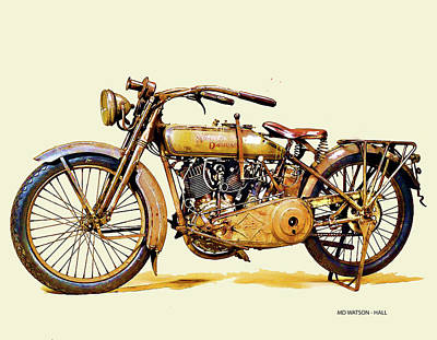 Digital Art - 1917 Vintage Harley Davidson Motorcycle by Marlene Watson