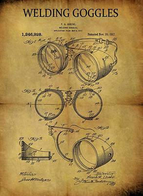 Mixed Media - 1917 Welding Goggles Patent by Dan Sproul